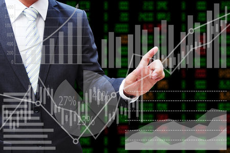 Businessman hand touching the virtual panel of pie chart and other chart , business concept Stockfoto