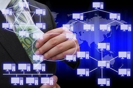 network topology: Businessman putting euro banknotes in suit pocket with virtual panel of virtual panel of computer network topology Stock Photo