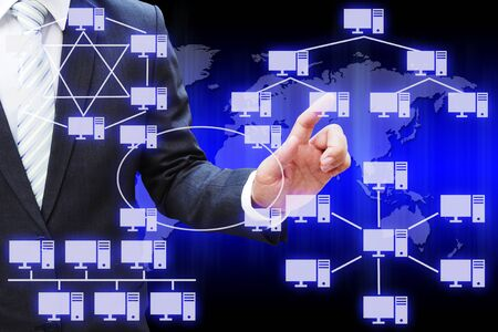 network topology: Businessman hand touching virtual panel of virtual panel of computer network topology
