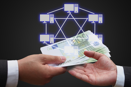 network topology: businessman giving euro money to his business partner with virtual panel of mesh topology , Computer network technology concept Stock Photo