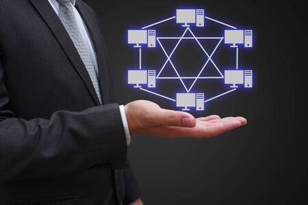 network topology: businessman hand with virtual panel of mesh topology , Computer network technology concept
