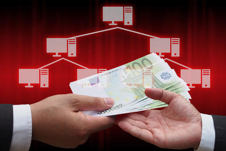network topology: businessman giving euro money to his business partner with virtual panel of tree topology , Computer network technology concept