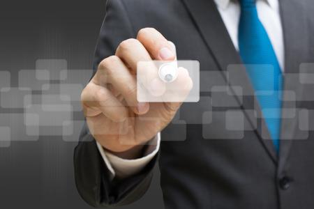 Business-Mann Zeichnung der virtuellen Panel der runden Rechteck-Schnittstelle, Business-Konzept Standard-Bild