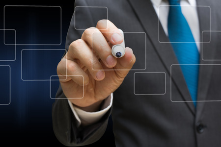 business man drawing the virtual panel of round rectangle interface, business concept Lizenzfreie Bilder