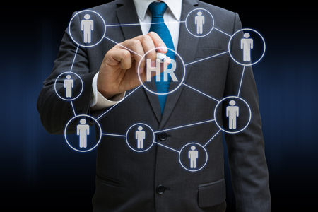 business man drawing the virtual panel of professional officer , human resources concept
