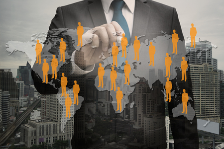Double exposure businessman CEO hand touching virtual panel of professional officer , human resources concept