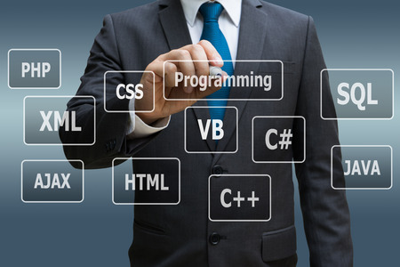 Businessman hand touching virtual panel of programming languages, Computer technology concept