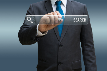 Businessman hand touching virtual panel of internet searching screen Standard-Bild - 91909211