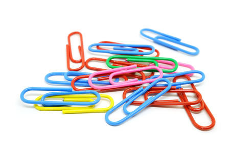 colorful paper clips isolated on white background