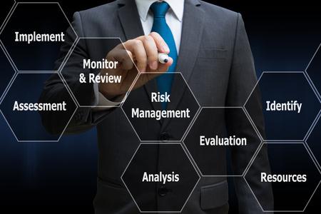 Hombre de negocios dibujando el panel de interfaz poligonal de icono de gestión de riesgos, concepto de negocio