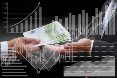 businessman giving euro money to his business partner with virtual panel of pie chart and other chart , business concept Standard-Bild