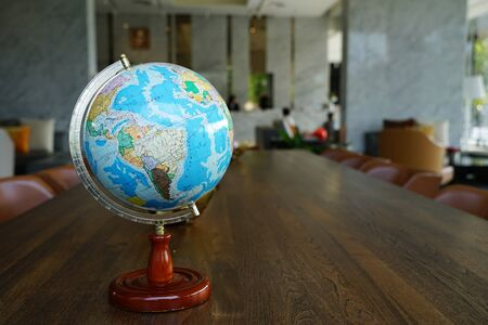 The globe for study placed on the table