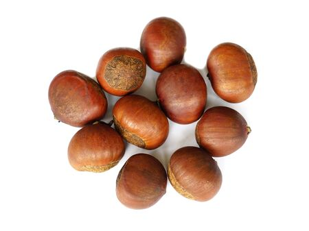 Chestnuts isolated on white background Standard-Bild