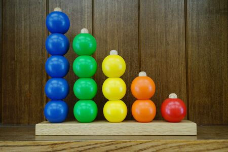 colorful abacus toy made from wood