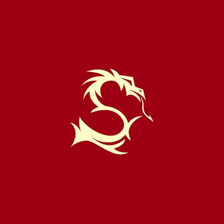 magical oriental asian dragon in the shape of the letter S