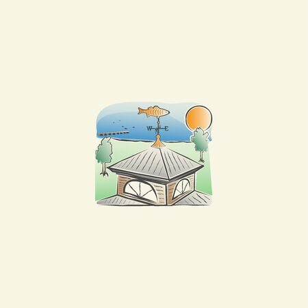landscape with a house roof, weather vane on it, trees, sun, water bay and boats Illustration