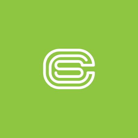 Abstract vector graphic illustration of three letters C, C and S in the form of a smooth endless line Ilustração