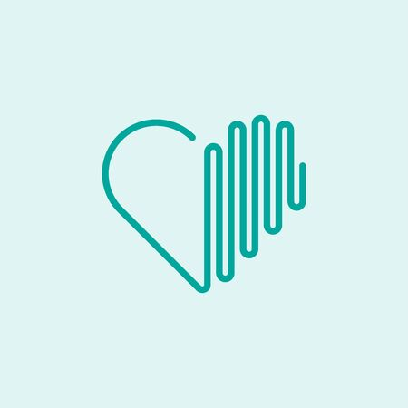 Abstract graphic vector illustration of a heart with sound wave elements Ilustração