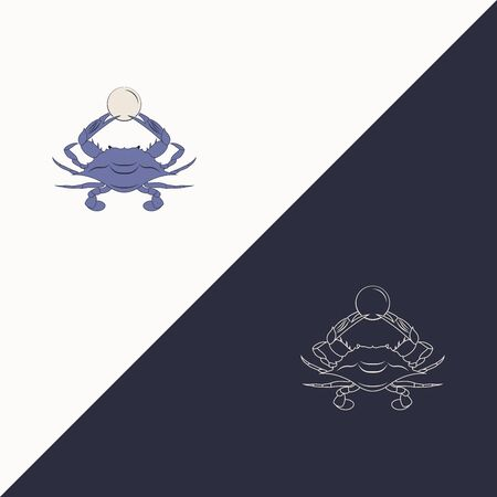 graphic vector illustration of a crab that holds a pearl in its pincers - full color and linear drawing