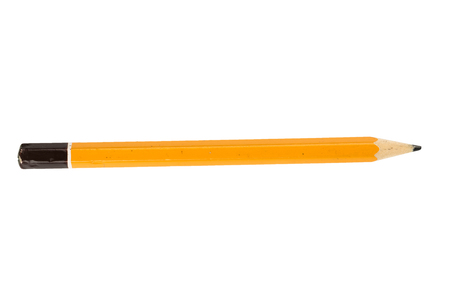 Yellow short pencil on isolate white background