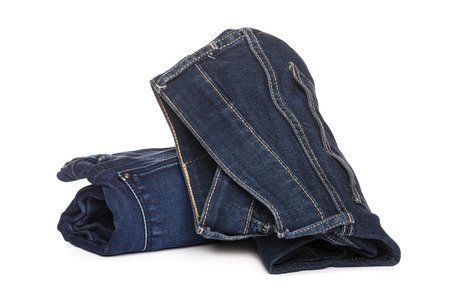 roll jeans isolated on white background