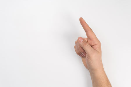 male hand on white isolated background