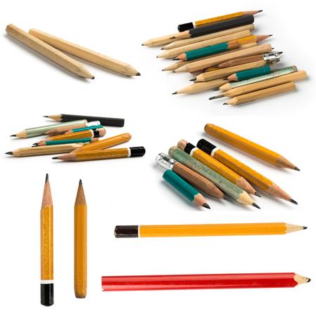 Set of Short Pencils on Isolated White Background