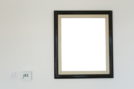 Black wooden photo frames mockup. Scandinavian style.