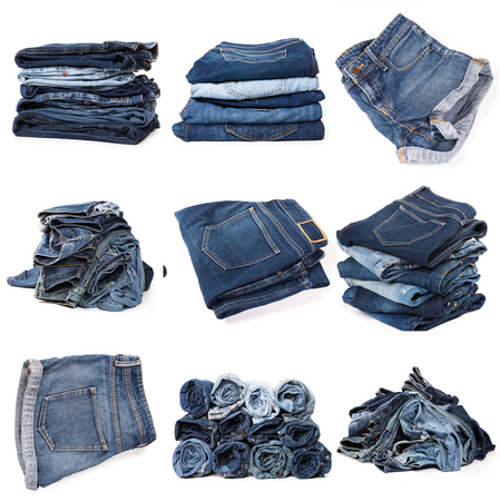 Collection of folded jeans isolated on white background Banco de Imagens