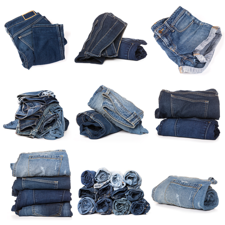 Collection of folded jeans isolated on white background Stockfoto