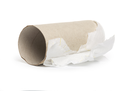 Empty toilet paper roll on white background