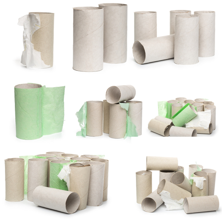 A selection of cardboard toilet paper tubes in various arrangements isolated on a white background. Large photograph, high resolution Stock Photo