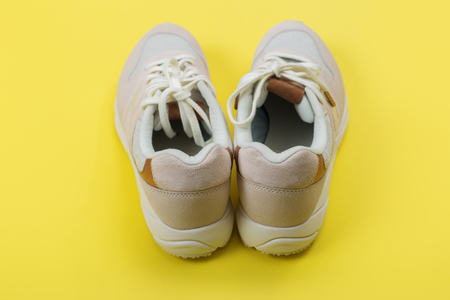 sport, fitness, shoes, footwear and objects concept - close up