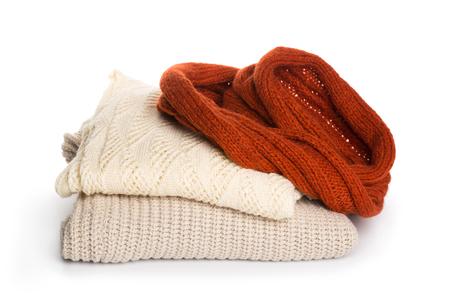 Folded sweater pattern on white background isolation