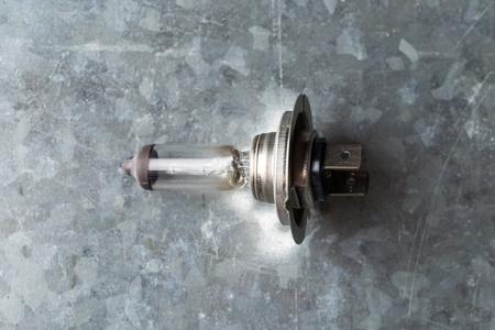 lot of Halogen car bulb on a metal background