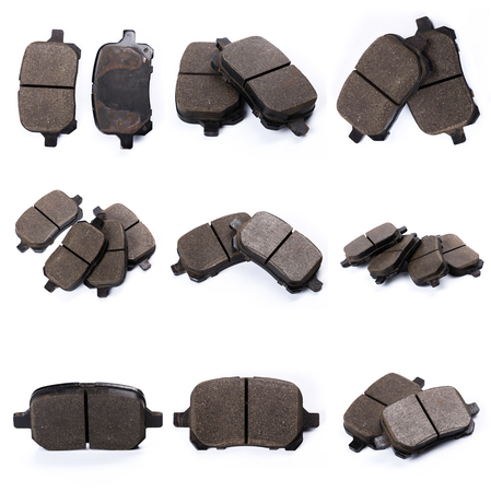 Set of brake pad, Maintenance spares for car isolated on white