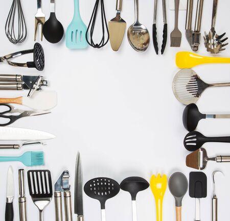 Set of kitchenware on gray background Standard-Bild