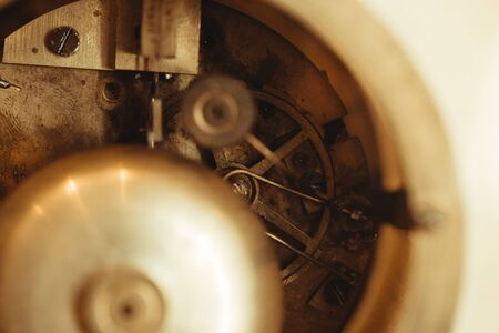 Clockwork Background. Close-up Of Old Clock Watch Mechanism