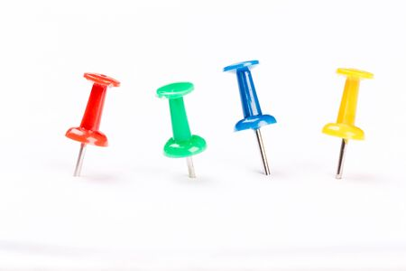 set of colorful push pins isolated on white background.