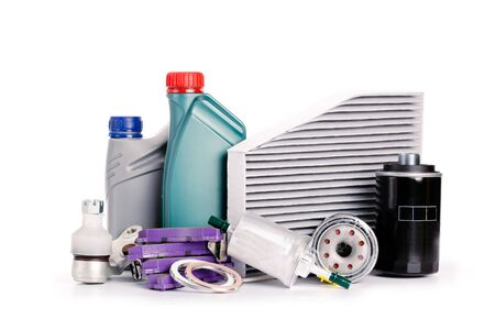Set of new various car parts necessary for vehicle service