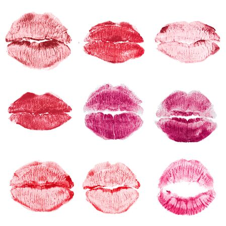 red lipstick kiss isolated on white background