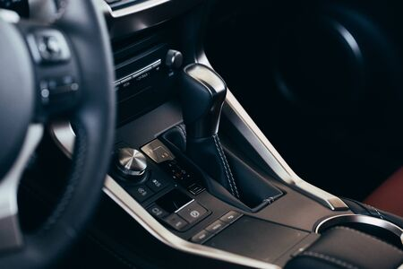Modern Luxury car inside. Interior of prestige modern car. Modern car interior details