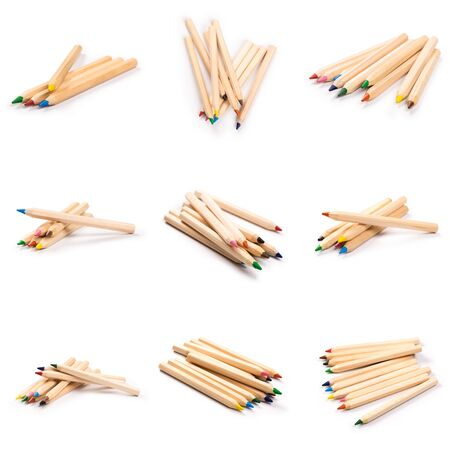 set of color wooden pencils isolated on white background. natural color. Art and hobby tools, set of colorful stationery