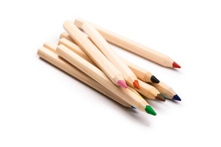 color wooden pencils isolated on white background. natural color. Art and hobby tools, set of colorful stationery