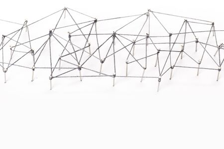 Science network pattern, connecting lines and dots. Big Data Visualization Background. Фото со стока