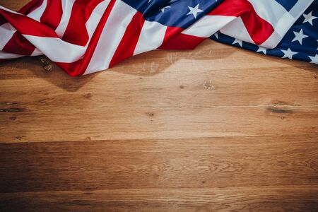 American flag on a old wooden. Flag USA as a patriotic background Stockfoto