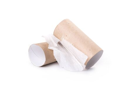 Two empty toilet rolls on white background