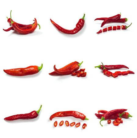 Set of red chili pepper isolate on white with clipping path