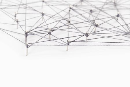 Science network pattern, connecting lines and dots. Big Data Visualization Background. Stockfoto
