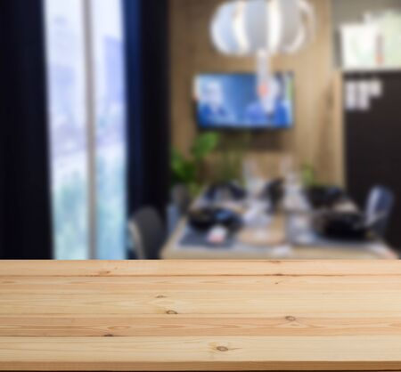 wooden table Top And Blur Kitchen Room of The Background